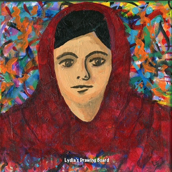 Malala, Woman Painting, Education, Pakistan, Women Art, Woman Portrait, Girl Power, Girl Portrait,  Girl Art, Activist, Feminine Art, Canvas