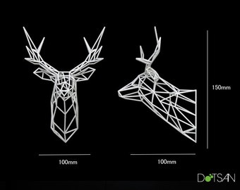 3D Printed Faceted Wire Stag Trophy Head