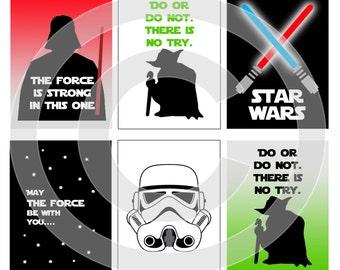 Star Wars Digital Scrapbooking Journaling Cards - Jedi Lightsaber - Project Life Pocket Page Inserts - DIY Printable - DIGITAL DOWNLOAD
