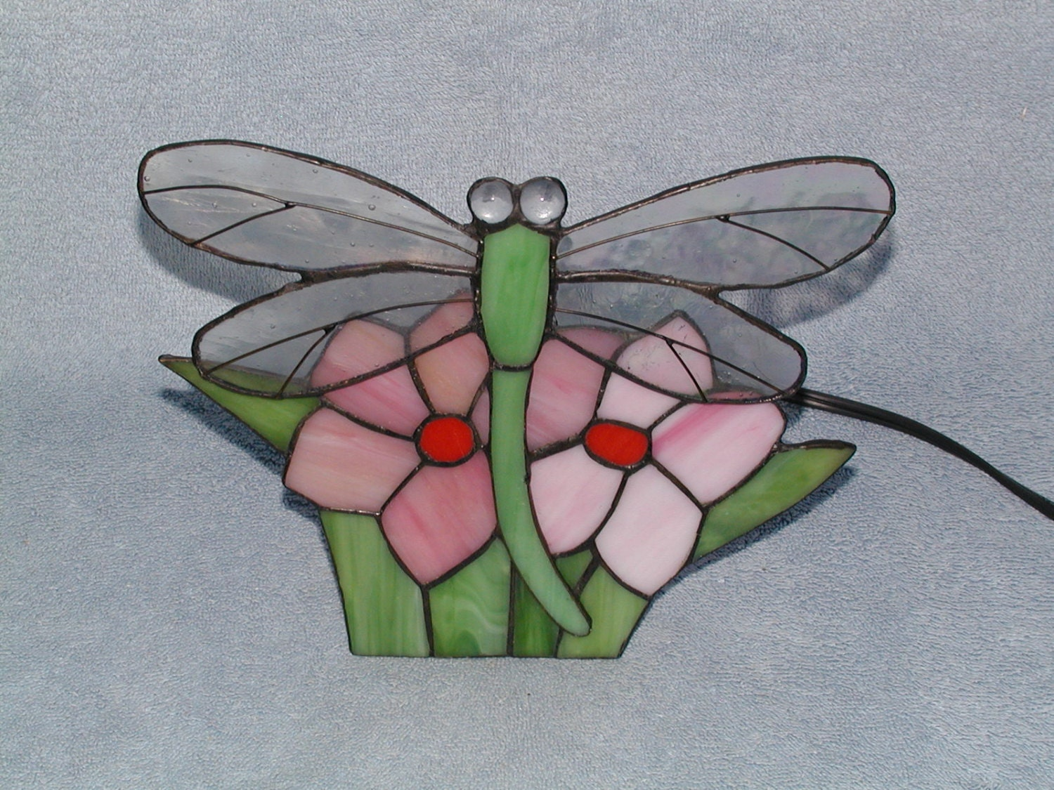 nightlight stained glass dragonfly lamp. Black Bedroom Furniture Sets. Home Design Ideas