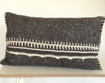 SALE, crocheted pillow, grey moving blanket with grey cotton