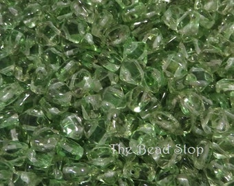 SPRING GREEN Transluscent SILKY Beads, Czech Glass, 6x6mm 50 pieces per unit