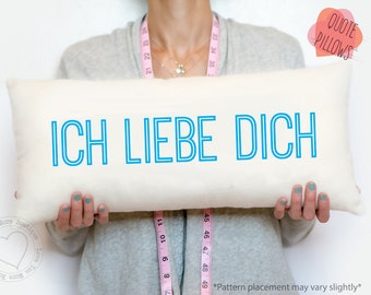 anniversary gift, personalized pillow, Ich liebe dich, german, I love you in german, custom pillow, gift for her, love pillow