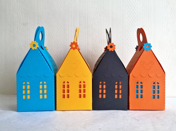 paper cut house box custom color 2.4x2.4x4 inch