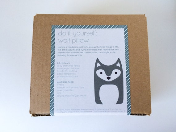 Plush Craft Animal Friends Pillow Kit : DIY Kit Wolf Woodland Pillow Plush Fleece by FluffedAnimals