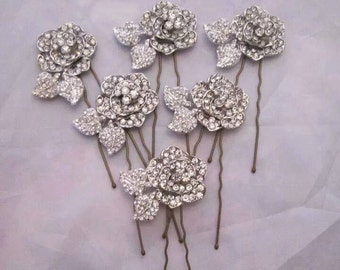 1 pair of diamante rose hair pins, bridal, bridesmaid