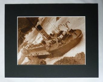 Vintage Shipwreck Print, Nautical Gift, Sepia Sea Decor, Available Framed, Ship Art, Maritime Photography, Hemsley I Steam Ship, Treyarnon