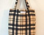 Reusable Grocery Bag - Black Plaid