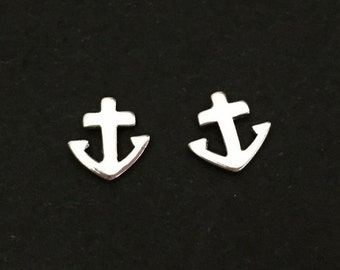 Tiny Silver Anchor Earrings. Tiny Anchor Studs. Sterling Silver Anchor Earrings. Anchor Post Earrings. Friendship Jewelry. Silver Anchor.