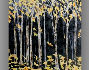 Original Yellow Tree Painting Modern Abstract Landscape Forest Tree Art Palette Knife Textured Painting Landscape ScenicTree Painting