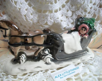 Vintage Horse Drawn Sleigh Figurine Christmas Holiday Table Centerpiece Old World Victorian Decor
