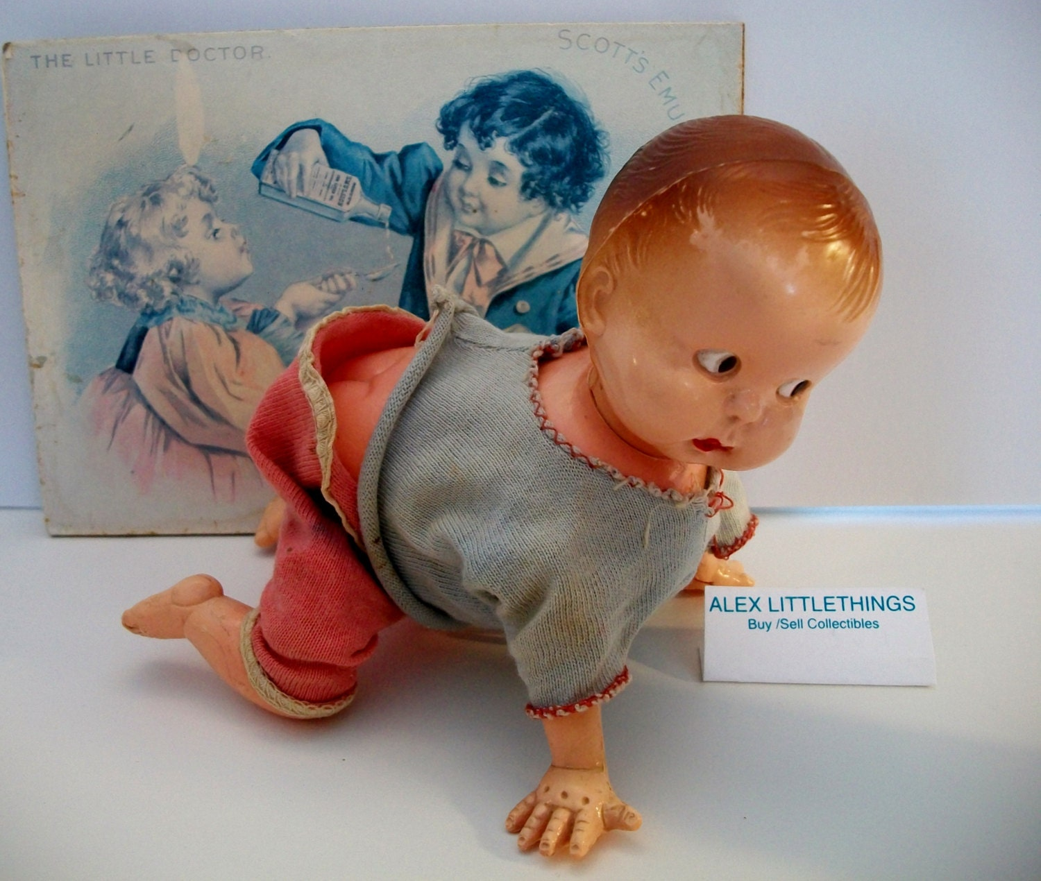Vintage Irwin Plastic Blow Mold Wind Up Crawling Baby Doll