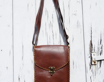 Vintage Leather Style Bag - Brown - Festival Retro Shoulder Handbag Messenger R