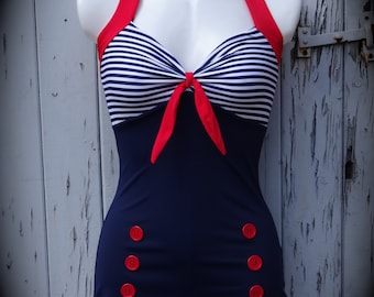 1950s Pin Up Girl Navy Blue Stripe Swimming Costume 10 12 14 16 18 20 - Retro Vtg Swimsuit Rockabilly Nautical