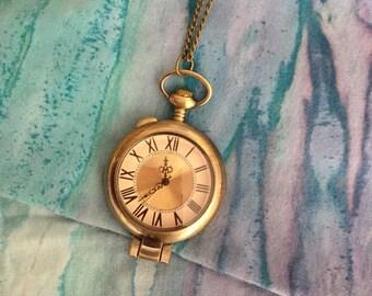 vintage grandfather clock necklace