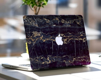 Elegant Black and Bronze Marble Texture Skin for Apple Macbook Air & Mac Pro - Trendy One of a Kind Gift