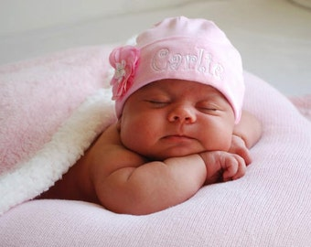 Baby girl pink hat, hospital hat, coming home hat, personalized, with flower.  One size fits most.