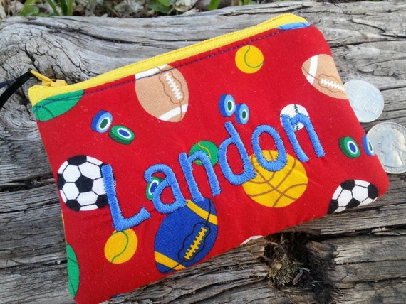 Personalized Sports Coin Pouch, Boys Zipper Wallet