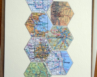 Hexagon Map Art - anniversary gift - wedding gift