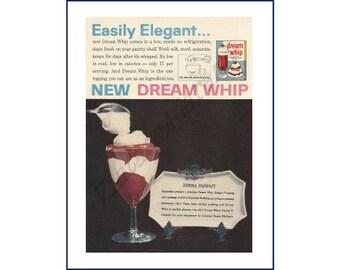 "DREAM WHIP Original 1960 Vintage Color Print Ad - Dessert Topping Mix ""Zebra Parfait"" Recipe Jell-O Chocolate Pudding"