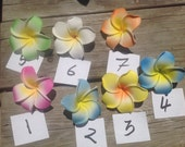 """Plumeria/Frangipani Hair Clips Or Wrapped Rubber Band Flowers..Choose From Any Of These Colors. APPROXIMATELY 2.5"""" - 3"""""""