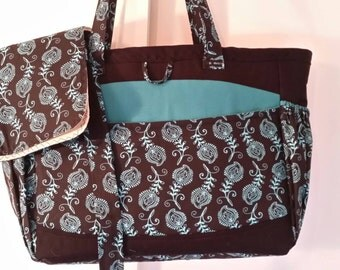 """13""""X11""""X6 Black and turquoise diaper bag"""
