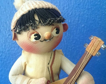 Sweet Vintage Hand Painted Puerto Rico Souvenir Upright Bass Player Figurine