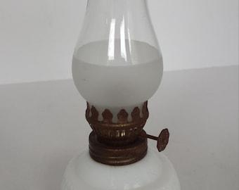 Milk Glass Miniature Oil Lamp