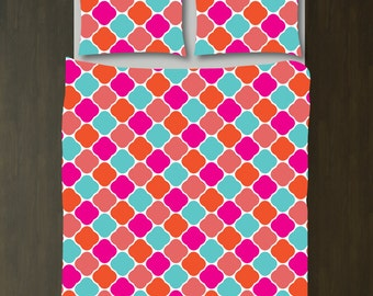 Quatrefoil Bedding Set-Duvet Cover and Shams-Orange-Pool-Hot Pink-Customize w/ANY COLORS-Twin/Twin XL, Full/Queen, King-Size-Dorm Room Bed