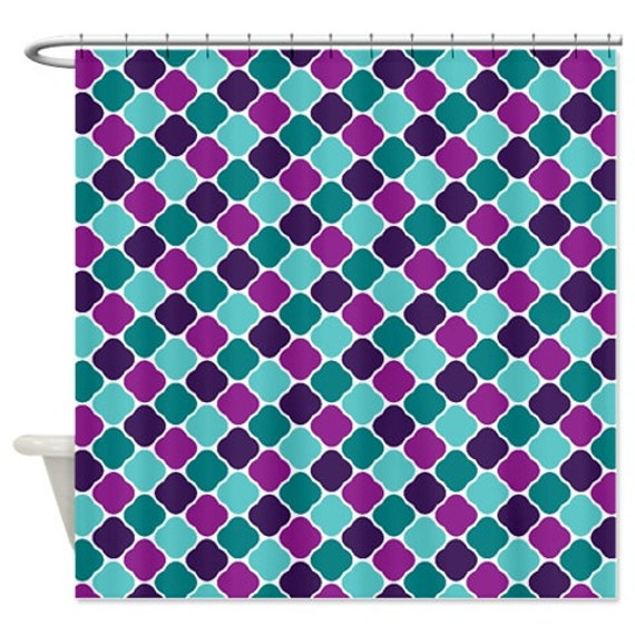 Like this item? - Quatrefoil Shower Curtain-Purple-Teal-Pool Pattern-Customize