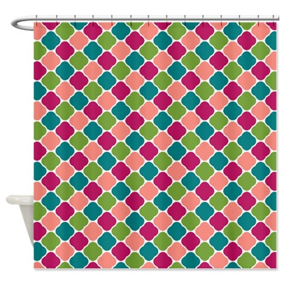 quatrefoil shower curtain coral pine by gatherednestdesigns