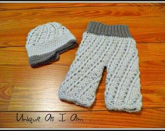 Crochet Spiral Pants and Newsboy Hat/Photo Prop