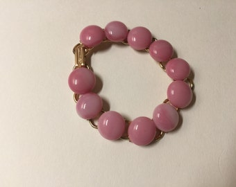 Shades of pink with white accents fused glass bracelet
