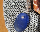 Cobalt Blue Sea Glass Necklace Pendant - Odyssey Sea Glass Jewelry - Silver Wire Wrap - From Lin in Peru - LJ0007