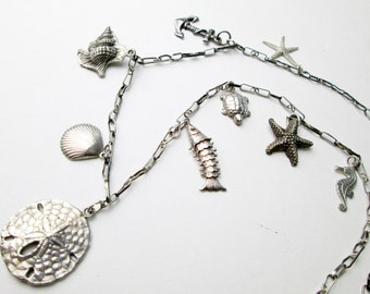"Vintage Sterling Silver 60s Charm Necklace, 9 Aquatic Theme & Sea Creatures, 24"" Long, Boho, USA."
