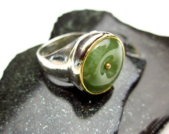 1920s Large Bi Eternity Circle Jadeite Gem, Signet Ring, 14K & 925 Sterling, Natural Color Jade Set ca.1992 by Tampico SF.