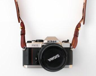 Leather Camera Strap - Mahogany