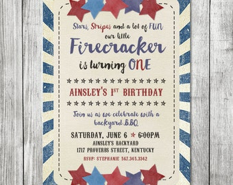 Fourth of July BBQ Invite - First Birthday Invite 5x7 JPG