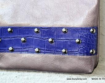 Zipper Fold Over Clutch - Zipper Fold Over Pouch - Leather Fold Over Clutch - Studded Clutch - Free Shipping