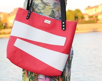 Coral Leather Bag - Coral with White Accent Leather Tote - One of a Kind Coral Leather Bag - Coral Leather Tote
