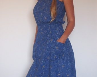 Trendy big pocket colorful knee cotton dress, top bohemian comfy