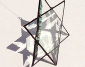 Beveled Glass Star of David, Stained Glass Jewish Star, 6 Pointed Star, Merkaba, Merkavah, Leaded Glass Suncatcher, Meditation, Ascension