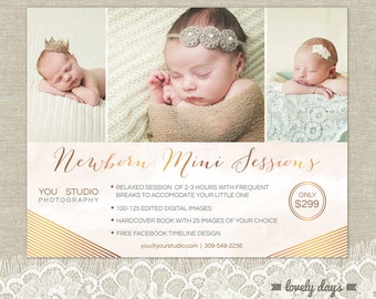 Newborn Mini Session Marketing Template Flyer for Photographers INSTANT DOWNLOAD