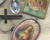 Religious Destash--- Cross, Lenticular Key Chain, Ring, Medal, Sacred Heart