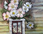 Flowers in door on wall by Gerda Smit