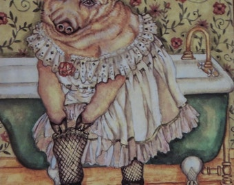 Piggy Petticoat , Set of 5 Hopalong Greeting cards with olive green envelopes