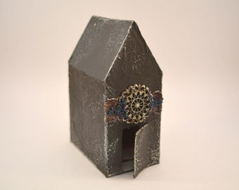 Decorative house, mixed media, black and silver, metal decoration