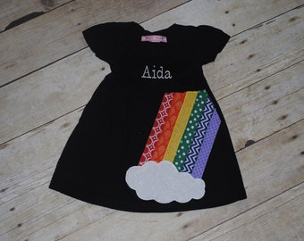 Embroidered Rainbow Dress - Personalized with Child's name or initial