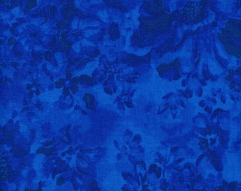 Quilt / Quilting Fabric Royal Blue Faded Floral Top / High Quality Fabric By The Yard