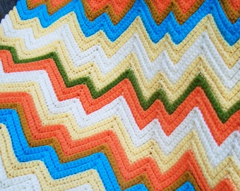 Vintage Chevron ZIG ZAG  Ripple  Hand Crochet Afghan Hand Made Multi Color Yellow, Orange & Blue